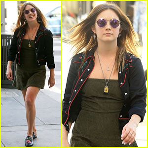 Billie Lourd Sports Green Corduroy Dress at Lunch With Male Friend