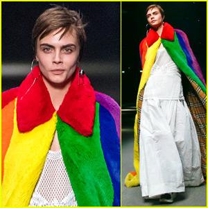 Cara Delevingne Rocks Rainbow Coat During Burberry Fashion Show!