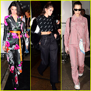 Kendall Jenner, Kaia Gerber, & Bella Hadid Step Out for Off-White x Jimmy Choo Event