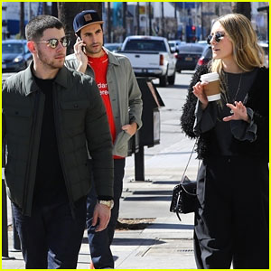 Nick Jonas Grabs Coffee With Friends During Busy Weekend