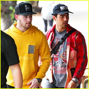 Nick & Joe Jonas Sport Bright Colors for Breakfast in Sydney