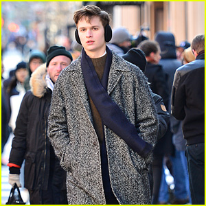 Ansel Elgort Stays Warm After Filming Scenes on the Set of 'The Goldfinch'