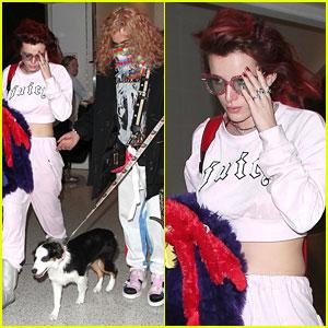 Bella Thorne Lands In LA with Boyfriend Mod Sun & Puppy Tampon