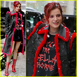 Bella Thorne Rocks Fishnet Tights & Heels in the NYC Snow!