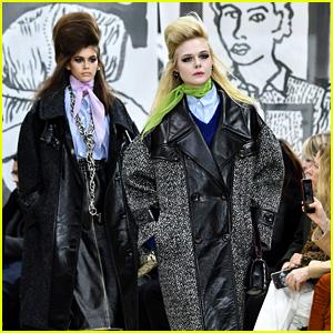 Elle Fanning & Kaia Gerber Go High Fashion at the Miu Miu Fashion Show!