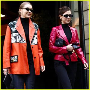 Gigi Hadid & Bella Hadid Nail Neon While Grabbing Lunch in Paris