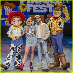 Jordan Fisher & Olivia Holt Stop by Pixar Fest at Disneyland - Pics!