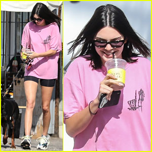Kendall Jenner Grabs Coffee With Her Pet Doberman & a Male Friend