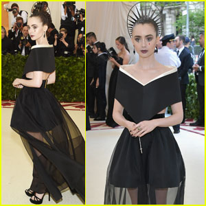 Lily Collins Wears a Crown to Met Gala 2018!