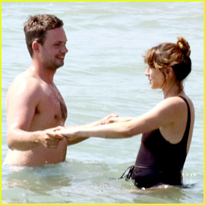 Troian Bellisario Wears One-Piece Swimsuit at the Beach with Husband Patrick J. Adams