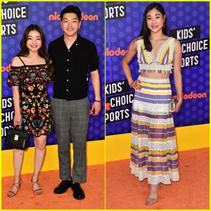 Maia & Alex Shibutani Join Mirai Nagasu on Kids' Choice Sports Awards 2018 Orange Carpet