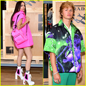 Sofia Carson & Ansel Elgort Get Colorful at Prada Linea Rossa Launch