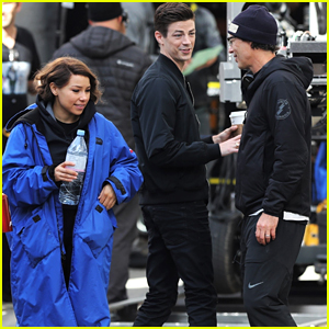 Grant Gustin & Jessica Parker Kennedy Film 'The Flash' Scenes Together