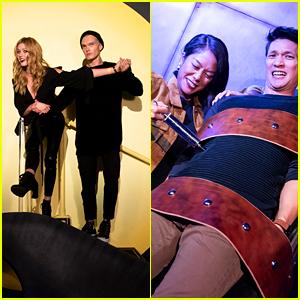 Katherine McNamara & Harry Shum Jr Enjoy a Spooky Night at Freeform's Halloween House