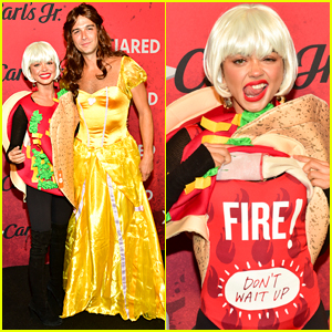 Sarah Hyland & Wells Adams Dress as Taco Bell for Just Jared's Halloween Party!