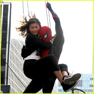 Zendaya Holds Onto Tom Holland While Shooting 'Spider-Man: Far From Home'