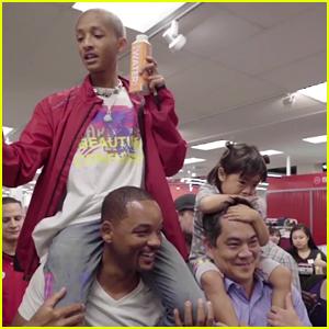 Jaden Smith Rides on Dad Will Smith's Shoulders for #PiggyBackChallenge!
