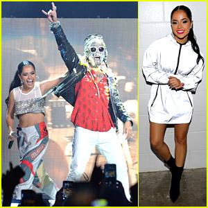 Becky G Helped Steve Aoki Cake a Fan at iHeartRadio's Fiesta Latina!
