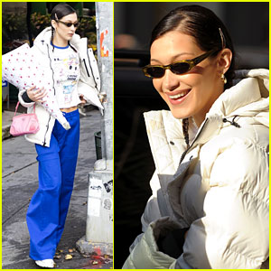 Bella Hadid Dons Bold Blue Pants While Picking Up Giant Balloons!