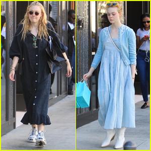 Dakota & Elle Fanning Go on a Family Shopping Trip After Christmas!