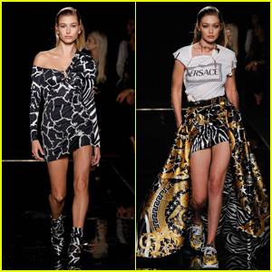 Hailey Bieber & Gigi Hadid Look Fierce on the Versace Runway in New York City