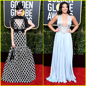 Sofia Carson & Gina Rodriguez Arrive In Style For Golden Globes 2019