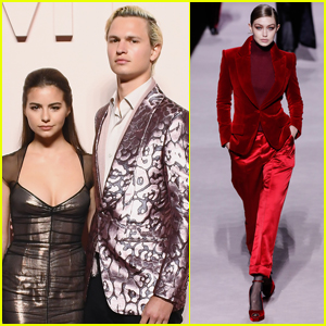 Ansel Elgort & Violetta Komyshan Support Gigi Hadid at Tom Ford Fashion Show!