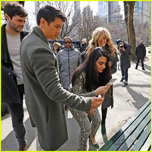 Matthew Daddario & Katherine McNamara Stop By 'Shadowhunters' New Bench in Central Park