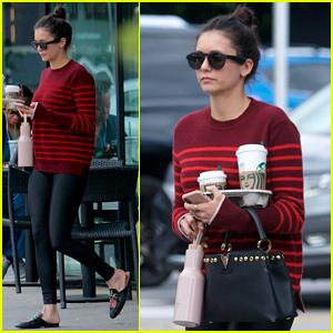 Nina Dobrev Sports Striped Sweater for Starbucks Stop