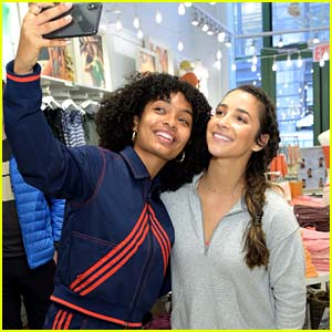 Yara Shahidi Supports Aly Raisman at Aerie Collection Launch Event