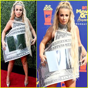 Tana Mongeau Rocks Dollar Bill Dress to MTV Movie & TV Awards 2019