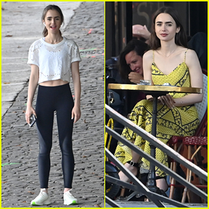 Lily Collins Films More Scenes for 'Emily in Paris' on Location in Paris