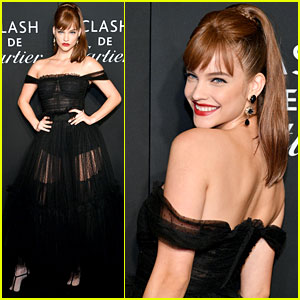 Barbara Palvin Rocks Bangs & Black Dress at Harper's Bazaar ICONS Event