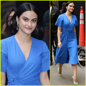 Camila Mendes Goes Pretty in Blue for Day of Press in NYC