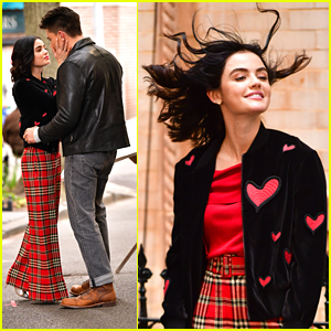 Lucy Hale's Hair Defies Gravity While Filming Sweet Scene With Zane Holtz For 'Katy Keene'