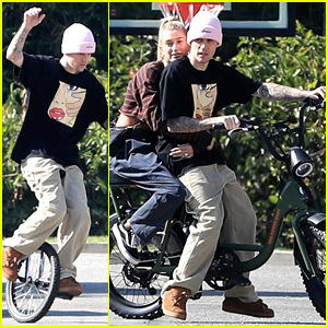 Justin Bieber Hops On A Unicycle & A Bike With Wife Hailey