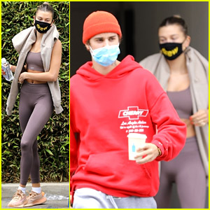 Hailey Bieber Wears Matching Workout Clothes at Doctor's Office with Justin Bieber