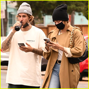 Justin & Hailey Bieber Step Out in Beanies for Lunch Run