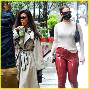 Addison Rae Wears Sheer Sweater & Red Latex Pants in NYC!