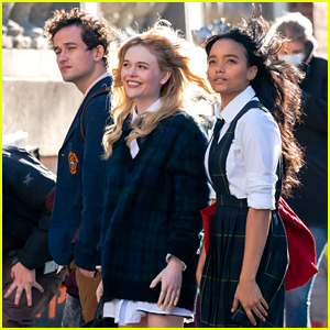 Eli Brown, Emily Alyn Lind, & Whitney Peak Go Back to School for 'Gossip Girl' (Photos)