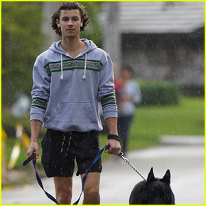 Shawn Mendes Walks in the Rain with Thunder