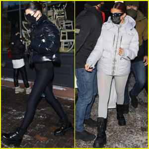 Kendall & Kylie Jenner Bundle Up While Shopping in Aspen