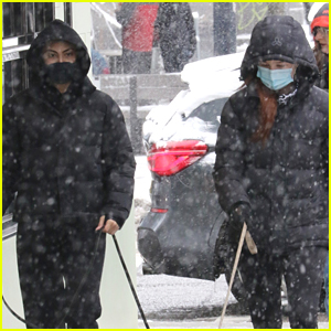 Camila Mendes & Madelaine Petsch Take Their Dogs For a Walk In The Snow