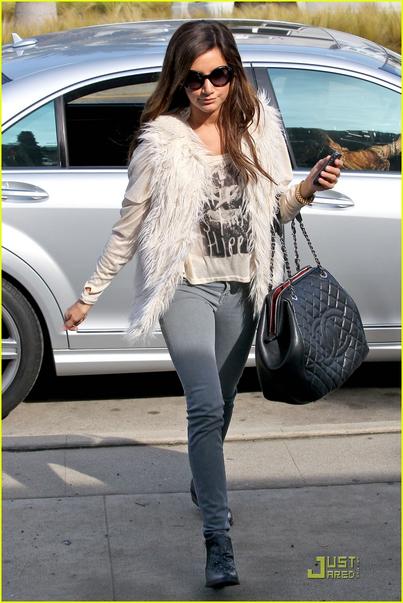 ashley tisdale fuzzy vest 09