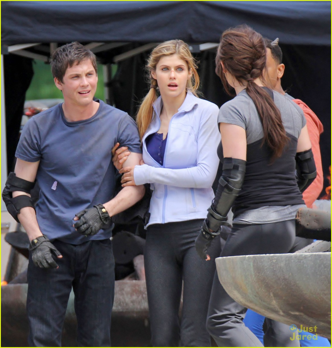 logan lerman more percy filming with alexandra daddario