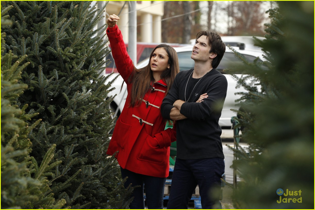 nina dobrev ian somerhalder tree shopping 03