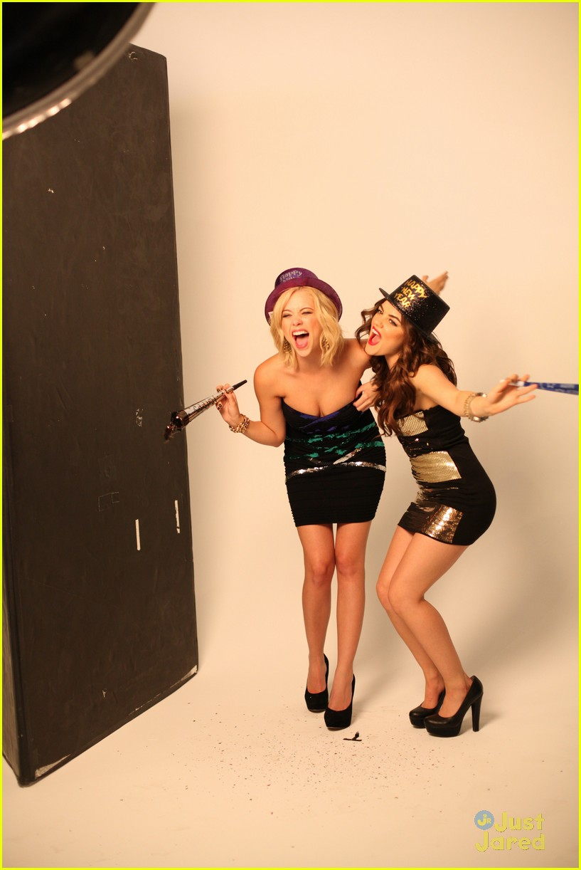 lucy hale ashley benson holiday bongo 02