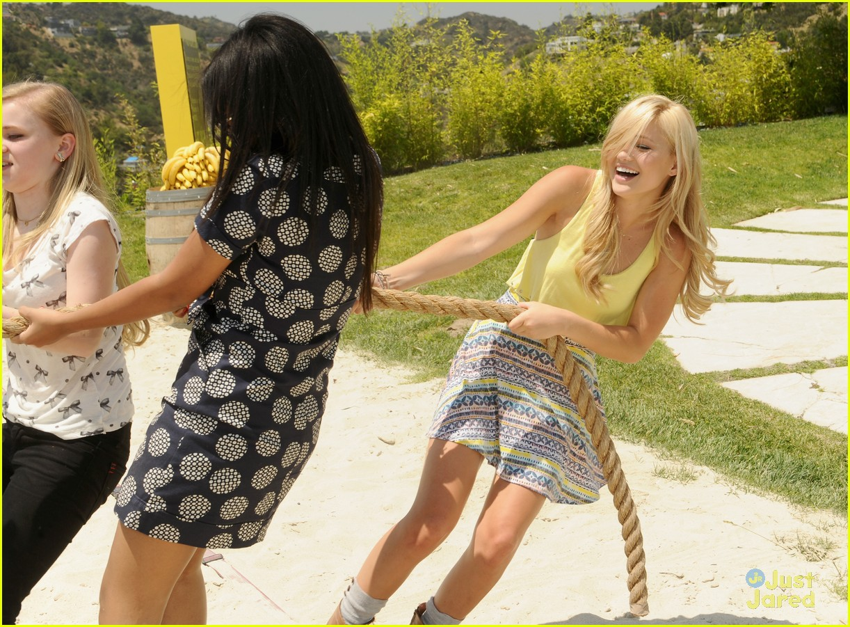 Set  Olivia Holt gets her game on inside the Donkey Kong Island Pool    Sierra Mccormick Pool