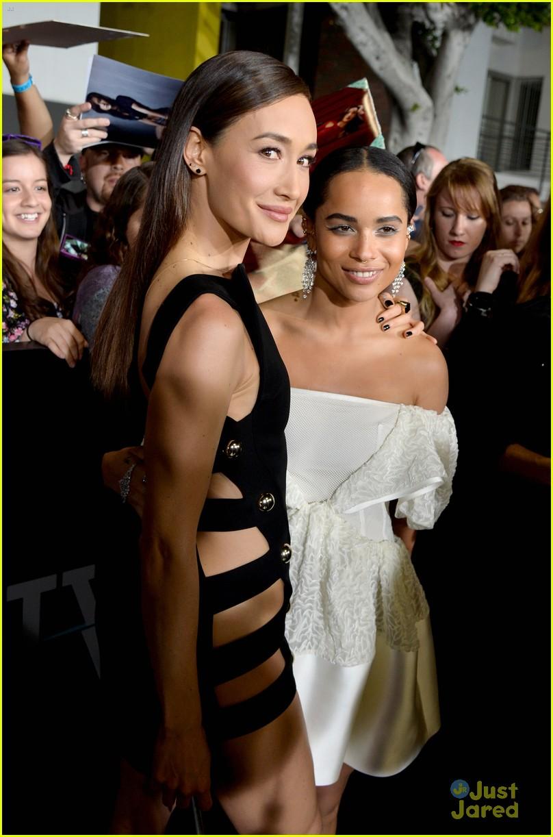 Maggie Q and Zoe Kravitz at the Divergent premiere in LA