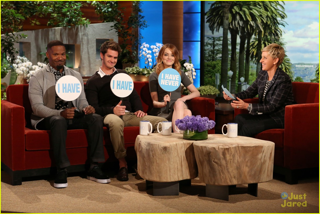 Emma Stone & Andrew Garfield Play Never Have I Ever with Ellen Andrew Garfield